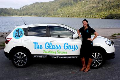 Jenn with The Glass Guys Car
