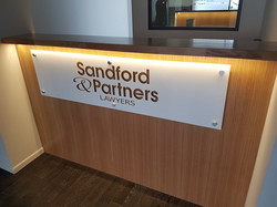 Glass Sign for Reception Counter.