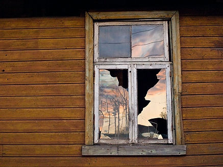 Smashed Wooden Frame Window