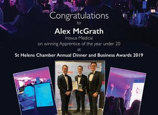 Alex McGrath celebrates Apprentice of the Year award