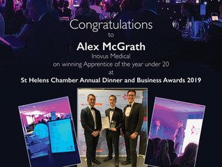 Alex McGrath celebrates Apprentice of the Year award