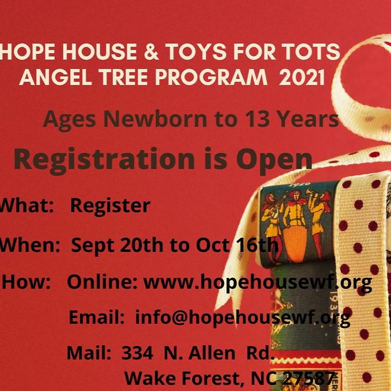 Hope House & Toys For Tots Angel Tree Program 2021