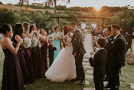 Wedding kiss in a sunset