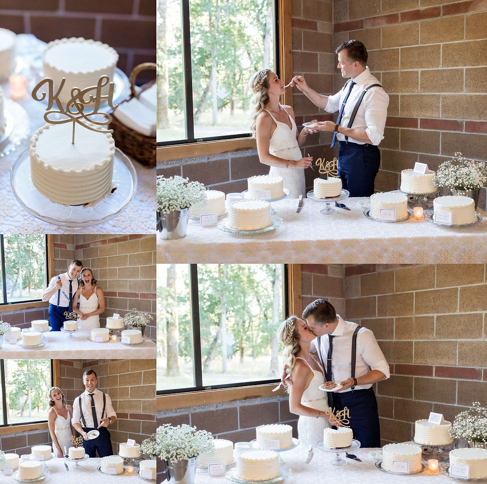 bride and groom cake cutting