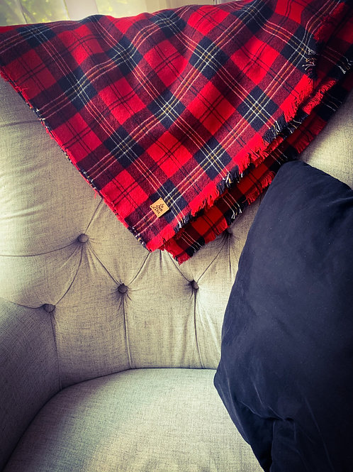 Red Plaid Campfire Blanket/Oversized Scarf- 100% Cotton