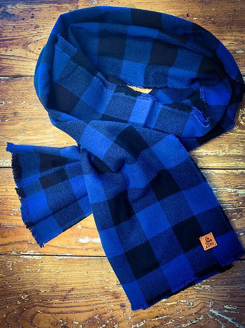 """UpNorth Chic"" Blue/Black Plaid Scarf 100% Cotton Flannel"