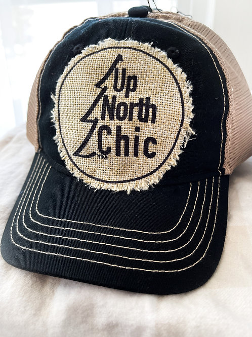 """UpNorth Chic"" Snapback Black Vintage Baseball Hat"