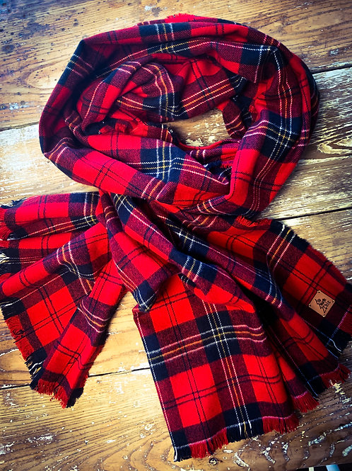 """UpNorth Chic"" Red Plaid (Yellow/Black/White Stripe) !00% Cotton Flannel"