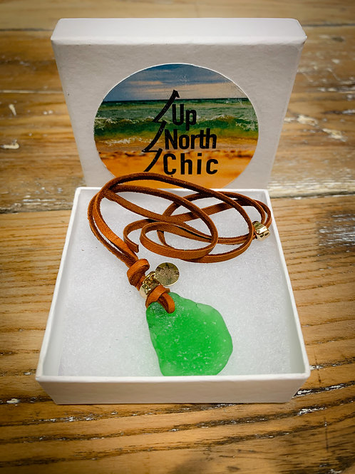 One-of-a-Kind, Great Lakes Sea Glass Leather Necklace, UpNorth Chic Design