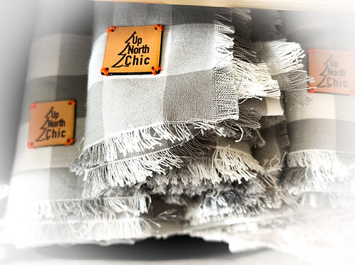 """UpNorth Chic"" Summer Gray & White 100% Cotton Square Scarves"