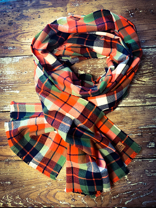 """UpNorth Chic"" Scarf Orange/Green/White/Navy Plaid 100% Cotton Flannel"