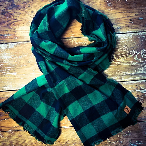 """UpNorth Chic"" Green/Black Plaid Scarf 100% Cotton Flannel"