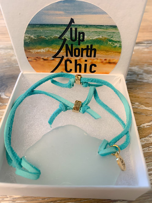 One-of-a-Kind, Great Lakes Sea Glass Leather Bracelet, UpNorth Chic Design