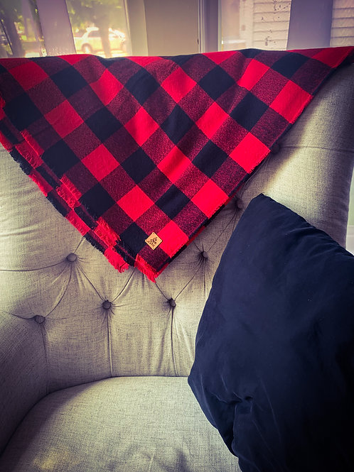 Red and Black Buffalo Plaid Campfire Blanket/Oversized Scarf- 100% Cotton