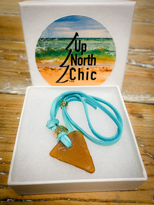 One-of-a-Kind, Great Lakes Sea Glass Leather Necklace, UpNorth Chic Desi