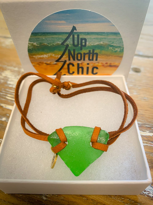 One-of-a-Kind, Great Lakes Sea Glass Leather Bracelet, UpNorth Chic Desi