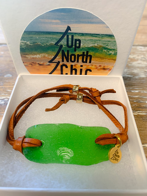 SOLD* One-of-a-Kind, Great Lakes Sea Glass Leather Bracelet, UpNorth Chic Design
