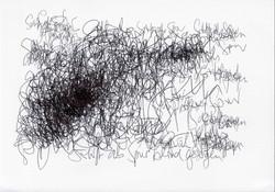 Schrift als Spur blind gezogen