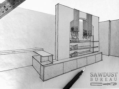 Unique, bespoke, one-off furniture design sketch by Sawdust Bureau