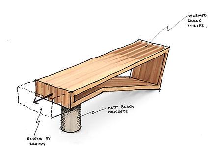 Custom furniture design sketch by Sawdust Bureau