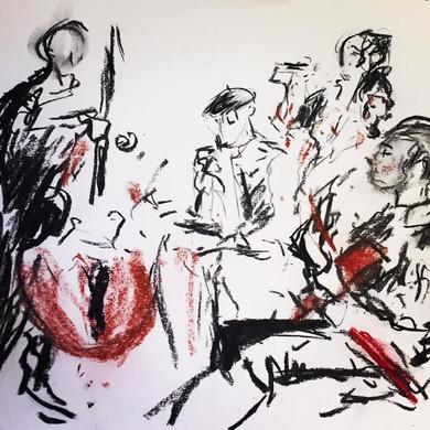 Red n Black Cosa Bossa drawing - Dave Akehurst