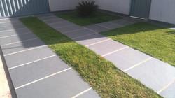 Grey slate paving