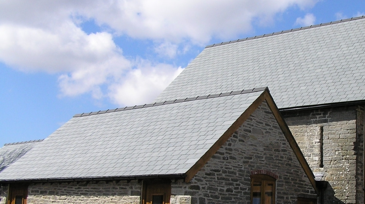 Grey slate roofing