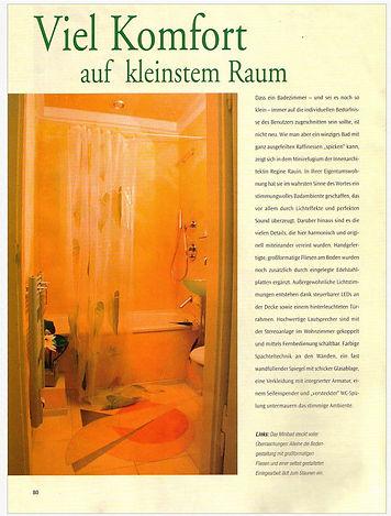 Viel Komfort auf kleinstem Raum - Bad mit Ornament im Boden - WohnDICH -Regine Rauin