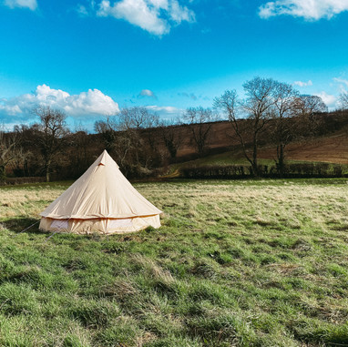 Our smallest bell tent outside Dolly