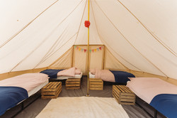 Bell tent set up for four
