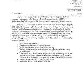 Resident Notification of Maintenance Overtime