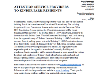 Attention Service Providers for the Kinder Park Mid-Rise Buildings