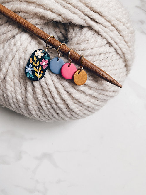 Stitch Markers - Floral on Black