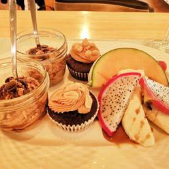Dessertvariation mit Muffienchen und Nougatmousse