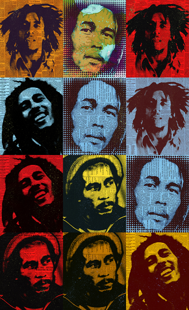 "Bob Marley 65x40""ed 10 on plexiglass"