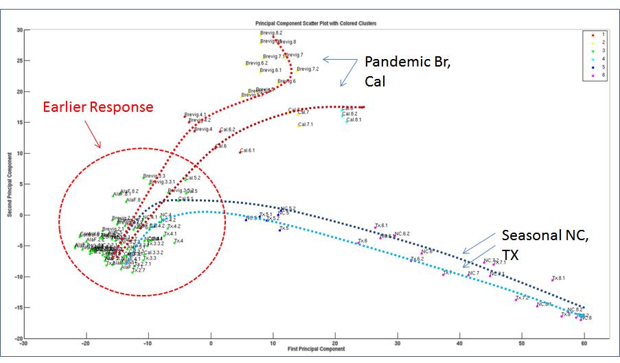 PCA analysis on seasonal and pandemic H1N1 infleunza response