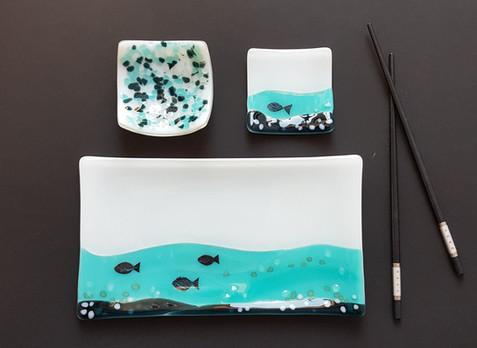 Sushi set 'Neli' (3 pieces) / Komplet krožnikov za suši 'Neli' (tridelni)