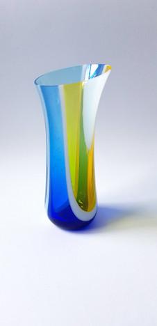 Vase in blue and yellow / Vazica v modrih in rumenih tonih