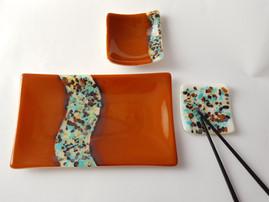 Sushi set 'Orange Wave' (3 pieces) / Komplet krožnikov za suši 'Oranžni val' (tridelni)