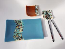 Sushi set 'Blue Wave' (3 pieces) / Komplet krožnikov za suši 'Modri val' (tridelni)