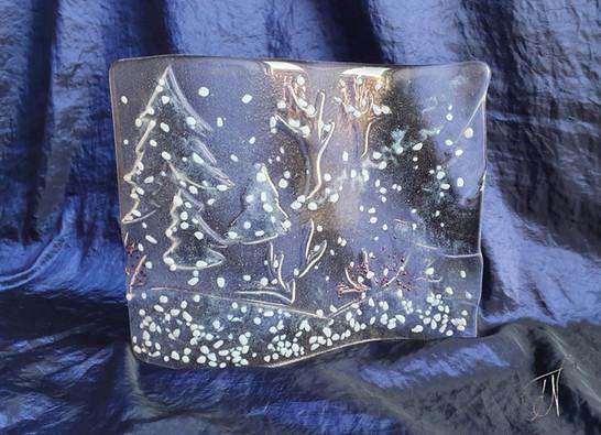 'Winter Dreamland' double curve free standing panel /  'Zimska pravljica', ukrivljena samostoječa slika