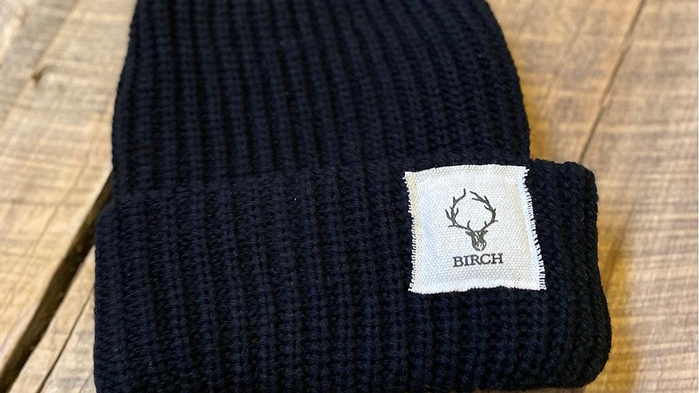 BIRCH HEAD PATCH BLACK BEANIE