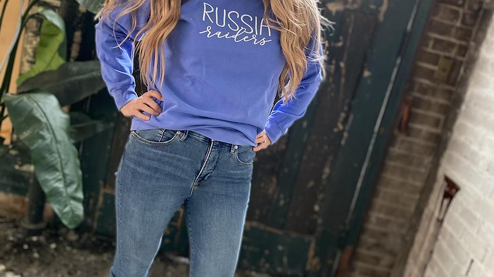 UNISEX RUSSIA RAIDERS SCRIPT BLUE DYED CREW NECK SWEATSHIRT