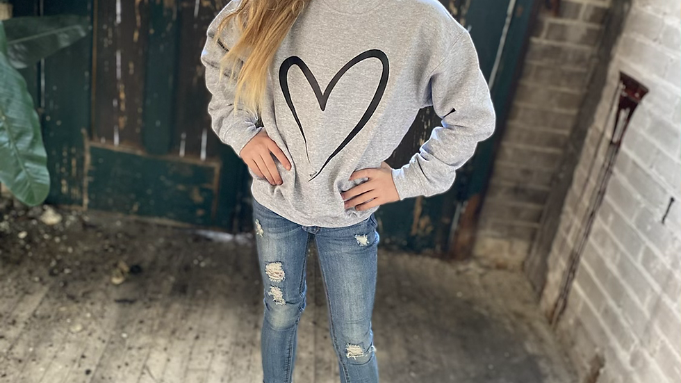 UNISEX ADULT & YOUTH HEART HEAVY COTTON CREW NECK SWEATSHIRT