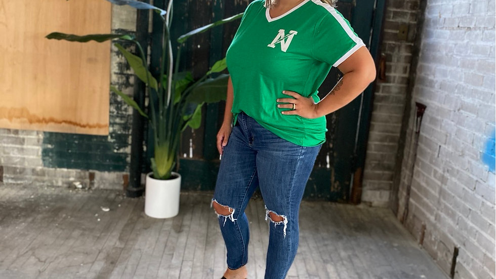 UNISEX ADULT & YOUTH GREEN NORTHMONT SHOULDER STRIPE TEE