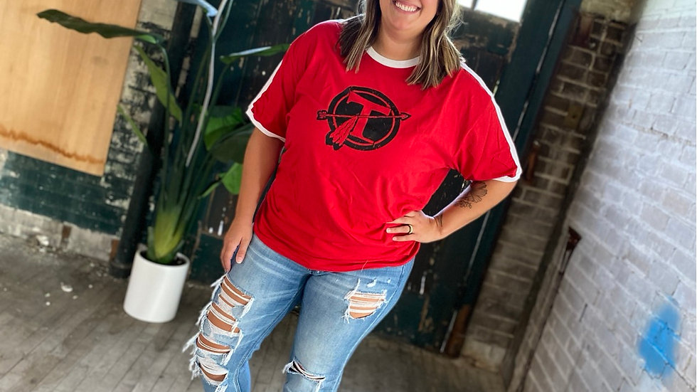 UNISEX ADULT AND YOUTH TECUMSEH RED SHOULDER STRIPE TEE