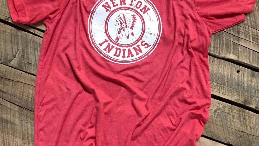 UNISEX ADULT & YOUTH RED NEWTON INDIANS CIRCLE TRIBLEND TEE