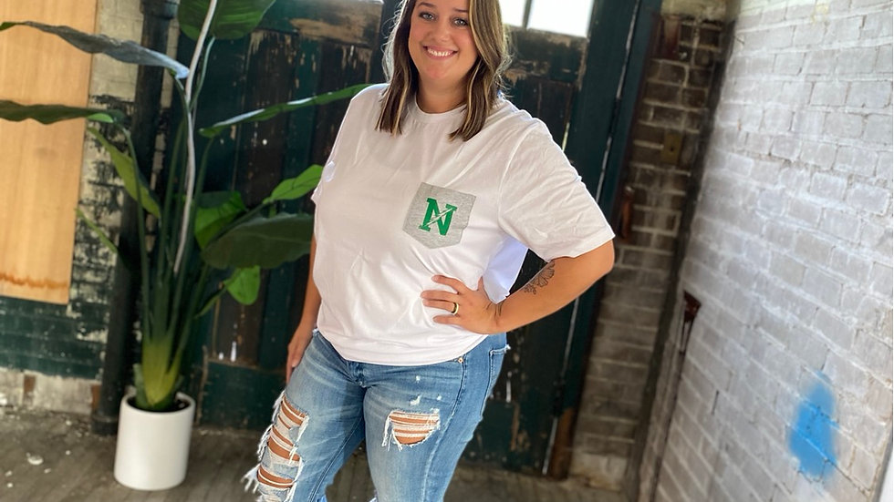 UNISEX NORTHMONT WHITE AND GRAY POCKET TEE