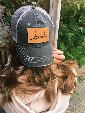Birch Trucker Leather Patch Hat