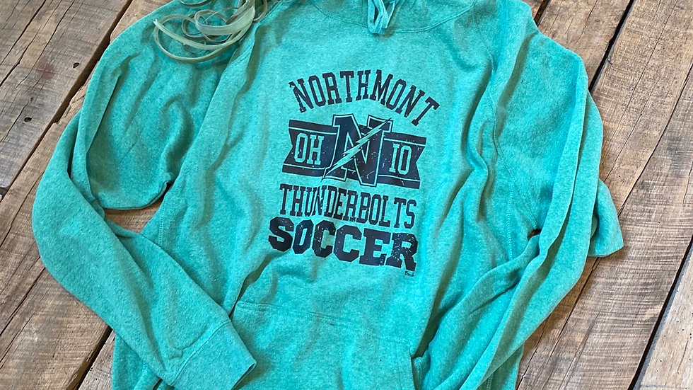 UNISEX NORTHMONT THUNDERBOLTS SOCCER GREEN HOODIE